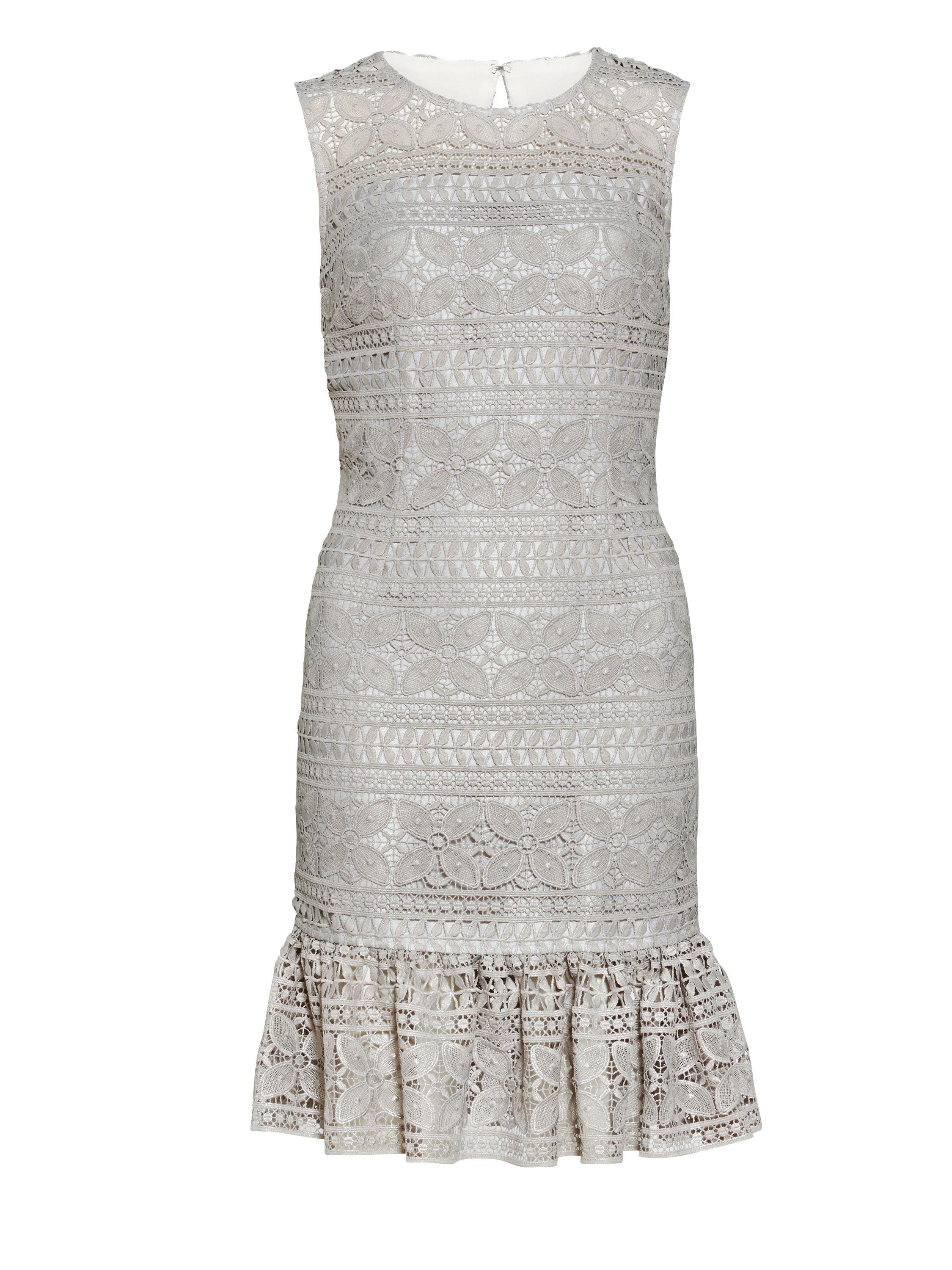 Gina Bacconi Antique Foiled Panelled Embroidery Dress, White