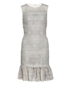 Gina Bacconi Antique Foiled Panelled Embroidery Dress
