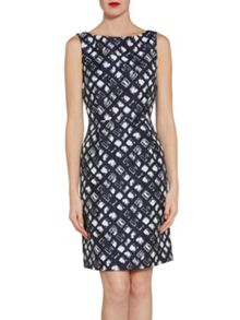 Gina Bacconi Navy white geometric jacquard dress