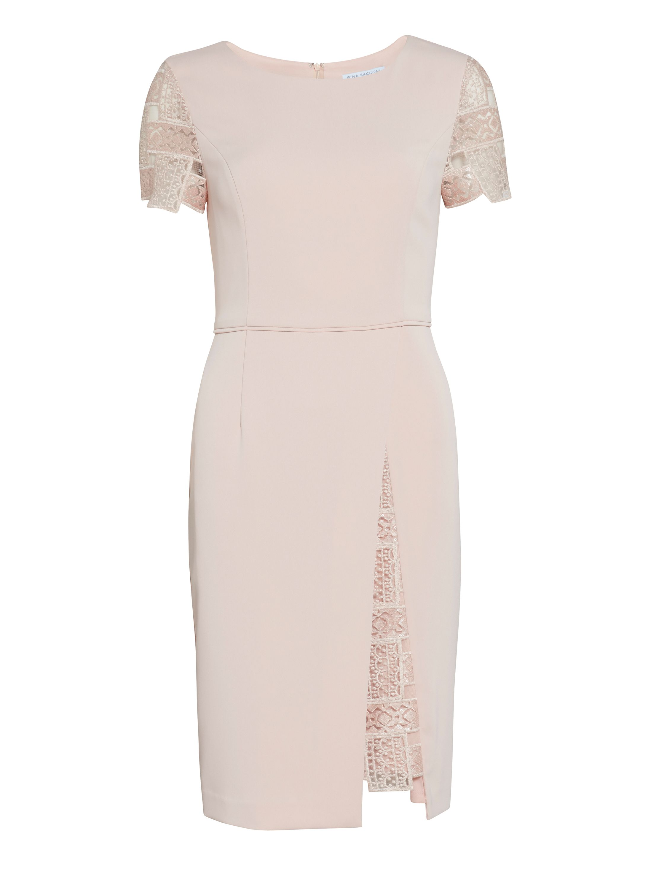 Gina Bacconi Mosaic sequin embroidery and crepe dress, Pink