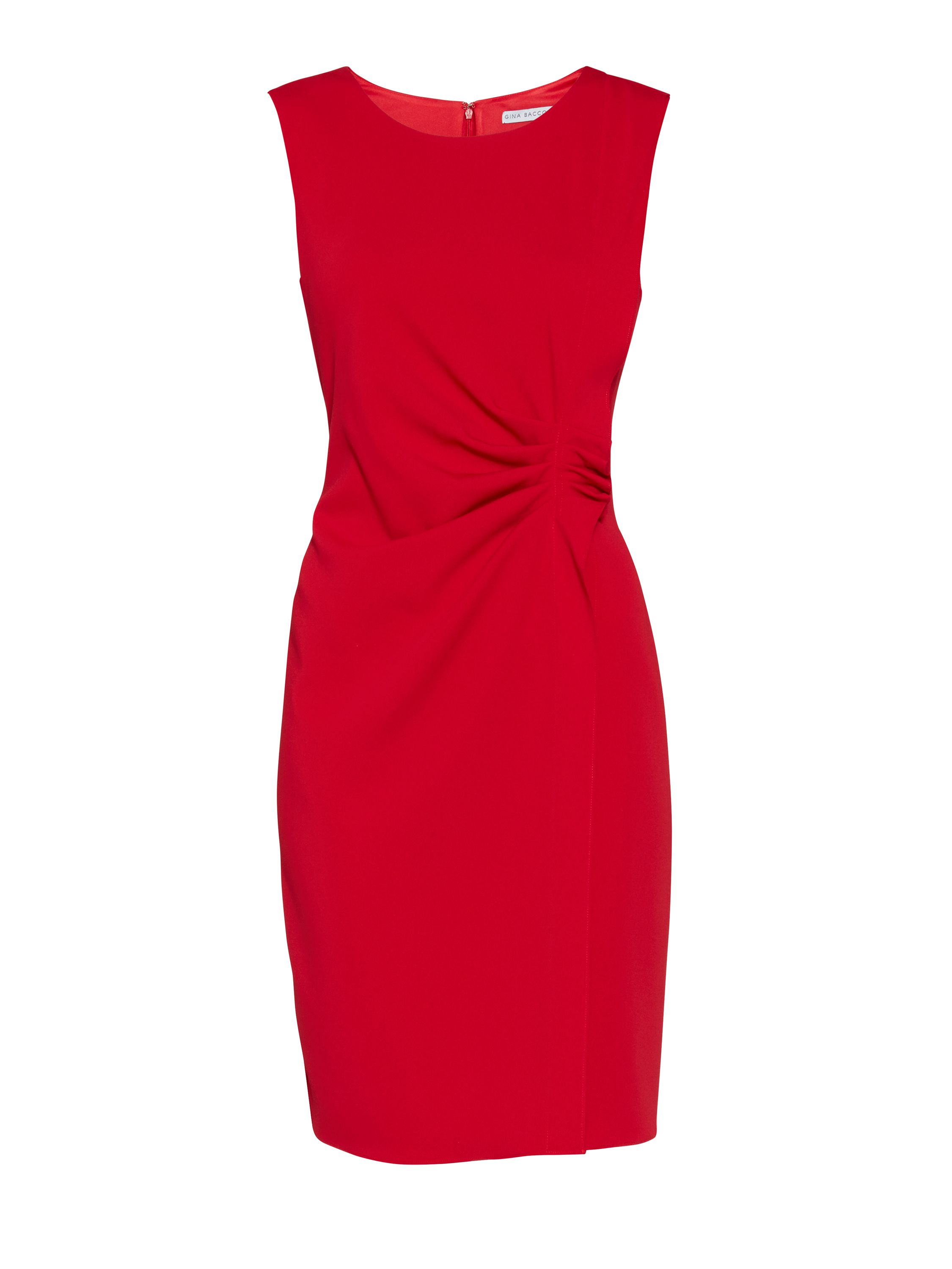 Gina Bacconi Moss crepe dress with waist detail, Red