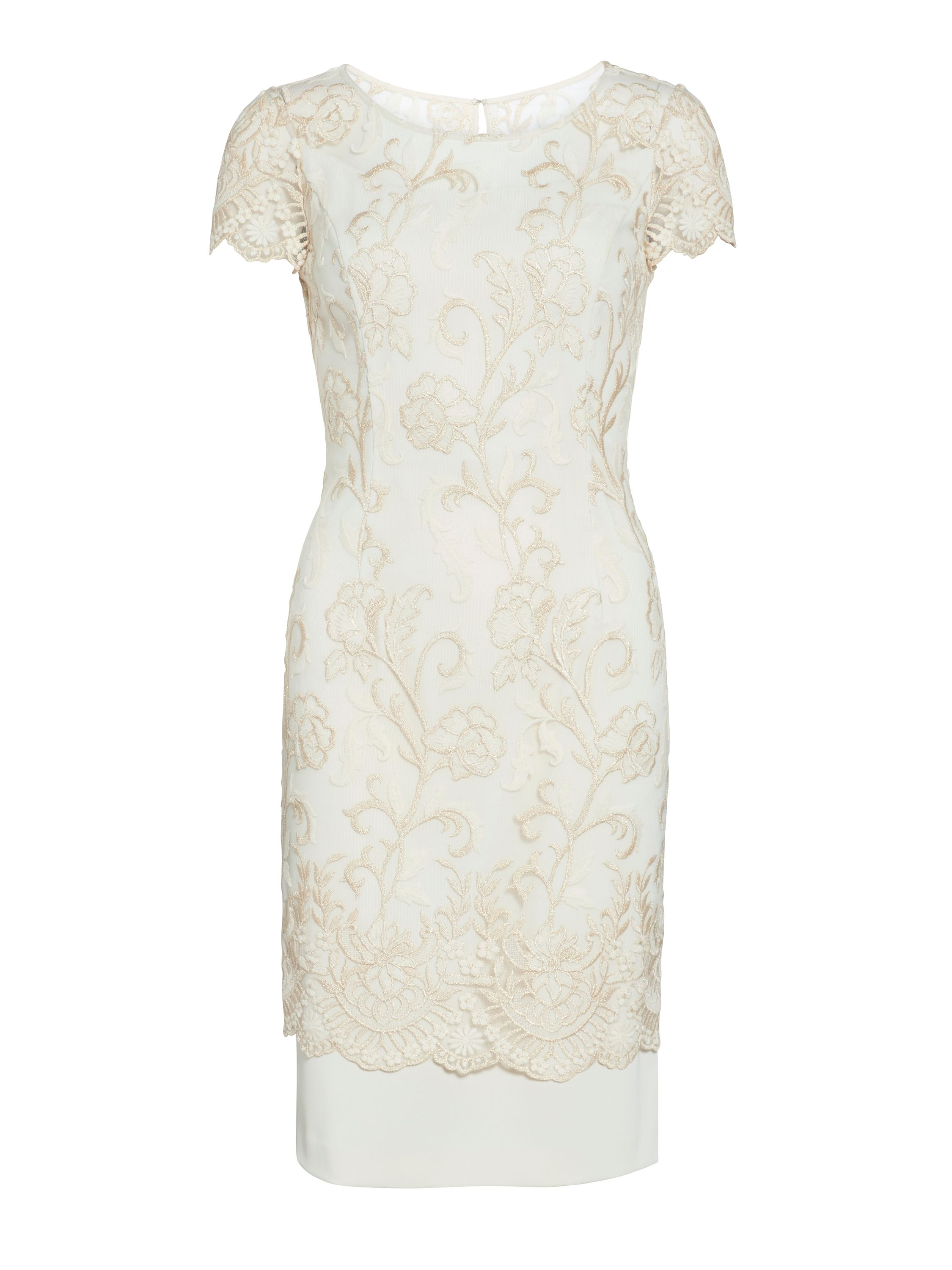 Gina Bacconi Metallic embroidered border dress, Cream