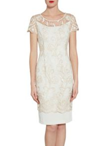 Gina Bacconi Metallic embroidered border dress