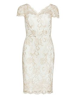 Crepe And Metallic Embroidered Dress