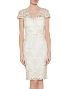 Gina Bacconi Crepe And Metallic Embroidered Dress