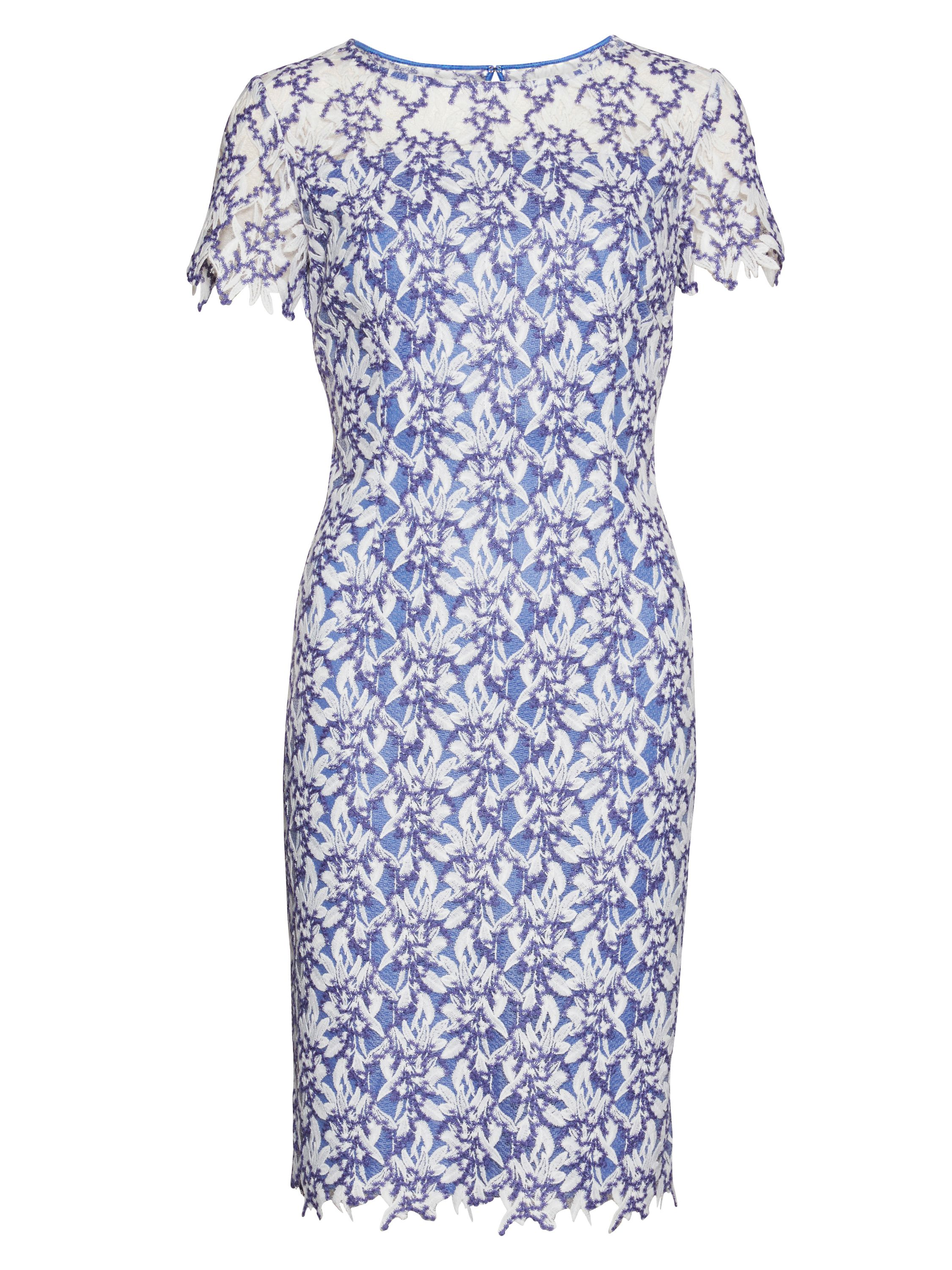 Gina Bacconi Dainty stitch leaf embroidery dress, Lilac