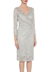 Gina Bacconi Antique metallic stretch lace dress