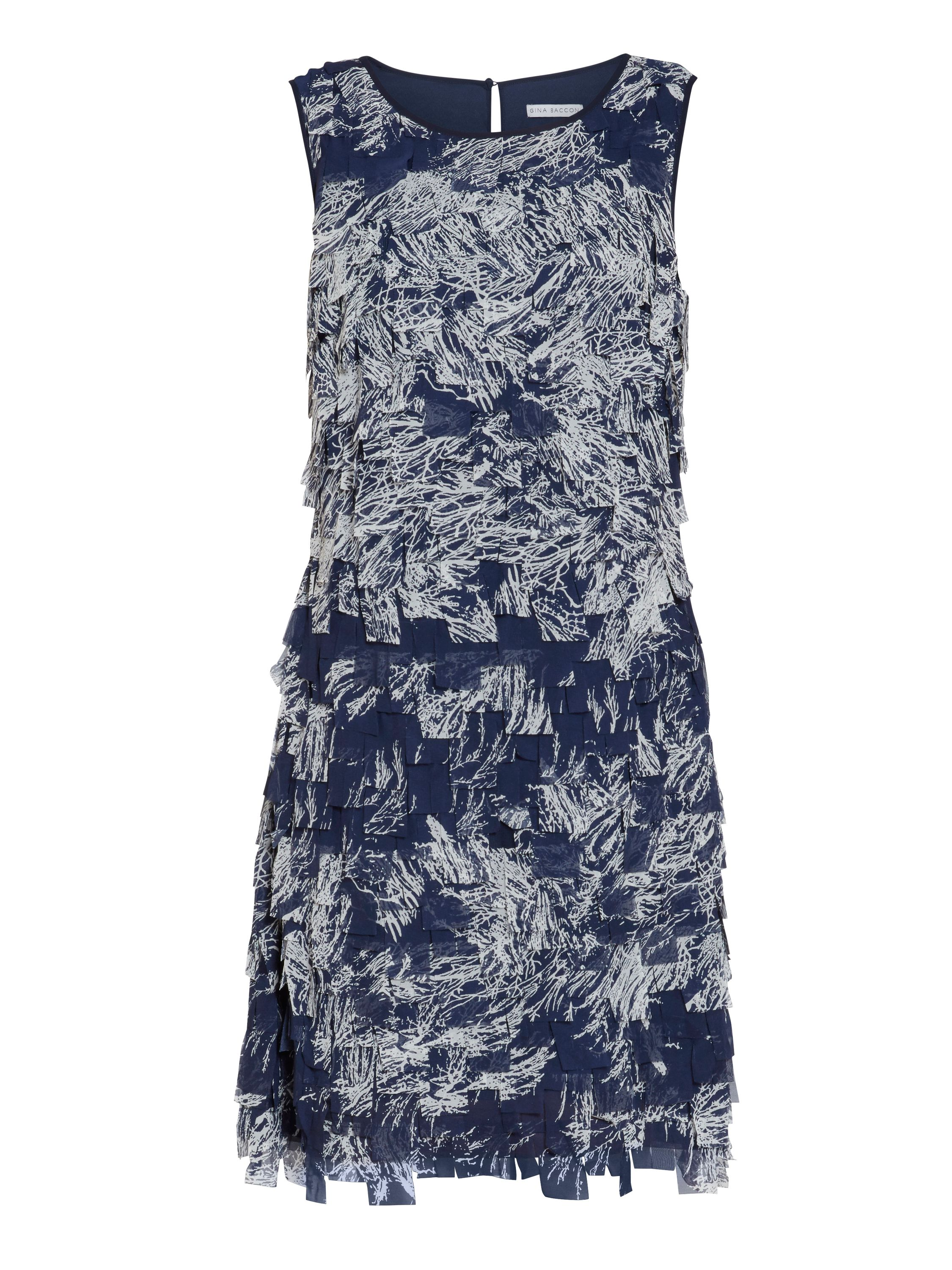 Gina Bacconi Navy off white fringe chiffon dress, Blue