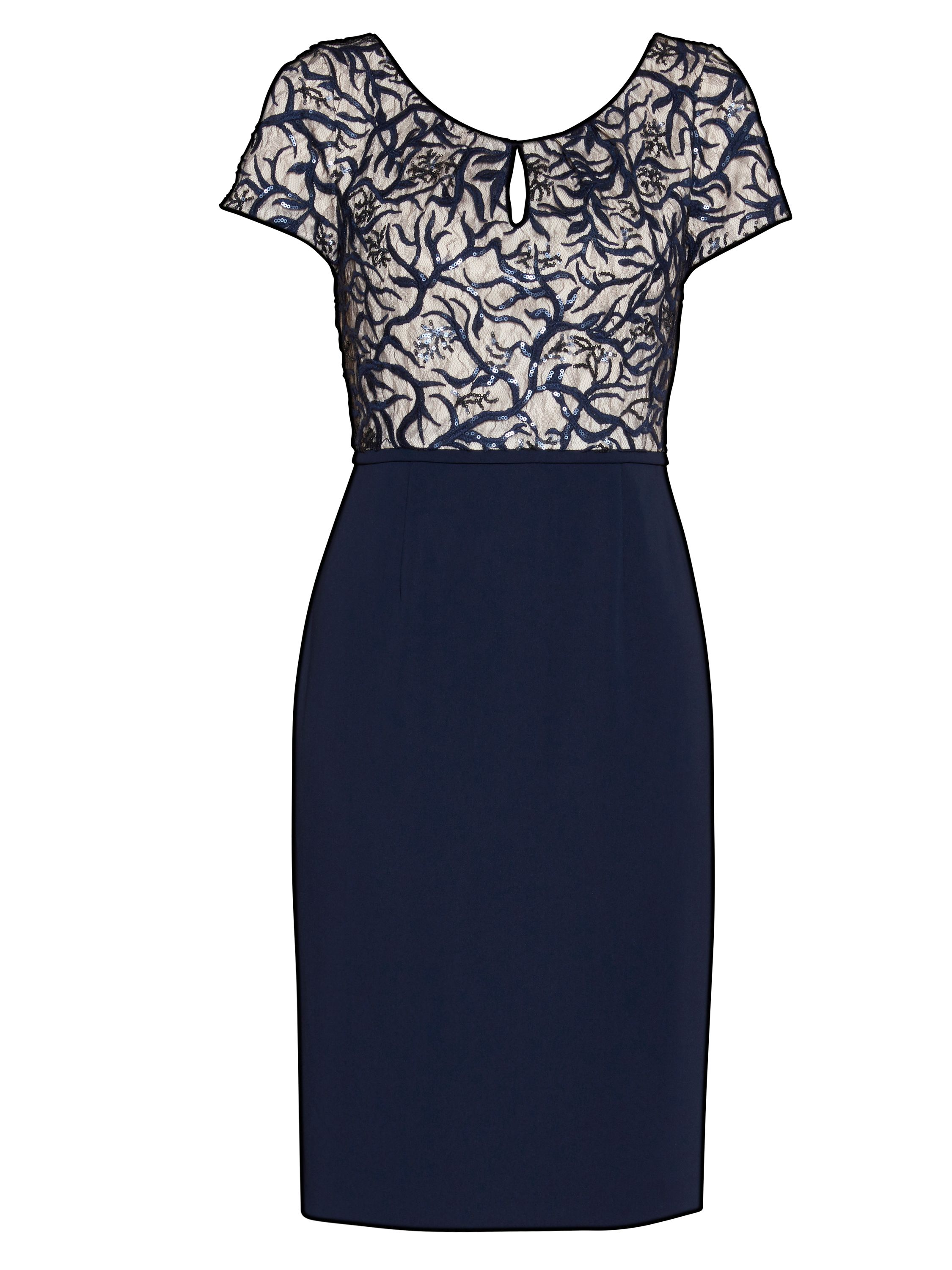Gina Bacconi Embroidered sequin bodice dress, Blue