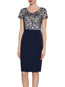 Gina Bacconi Embroidered sequin bodice dress