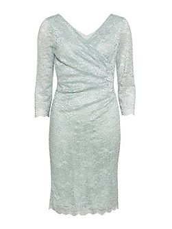 Eau De Nil Stretch Glitter Lace Dress