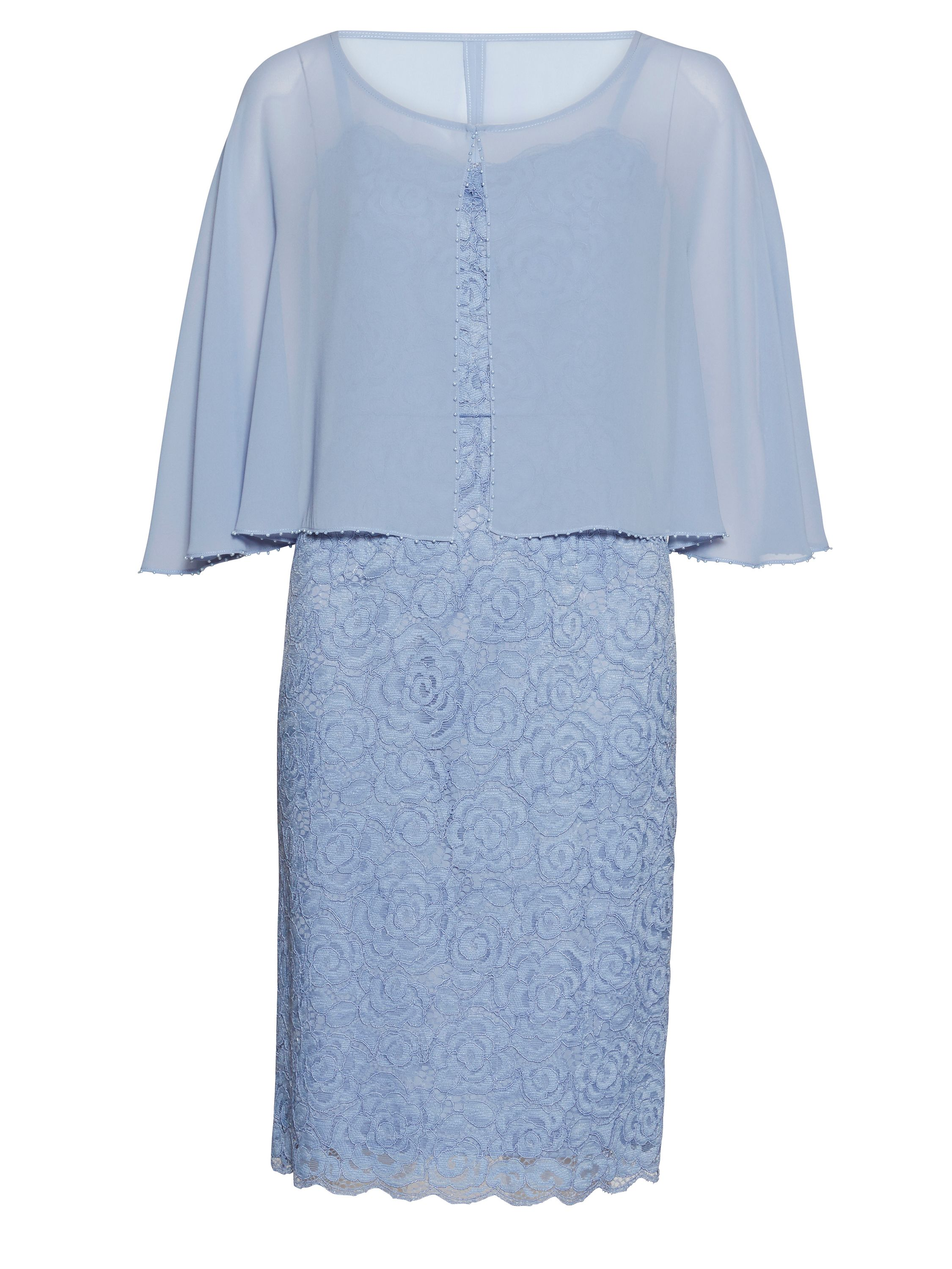 Gina Bacconi Corded lace dress with chiffon cape, Blue