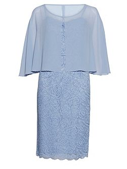 Corded lace dress with chiffon cape