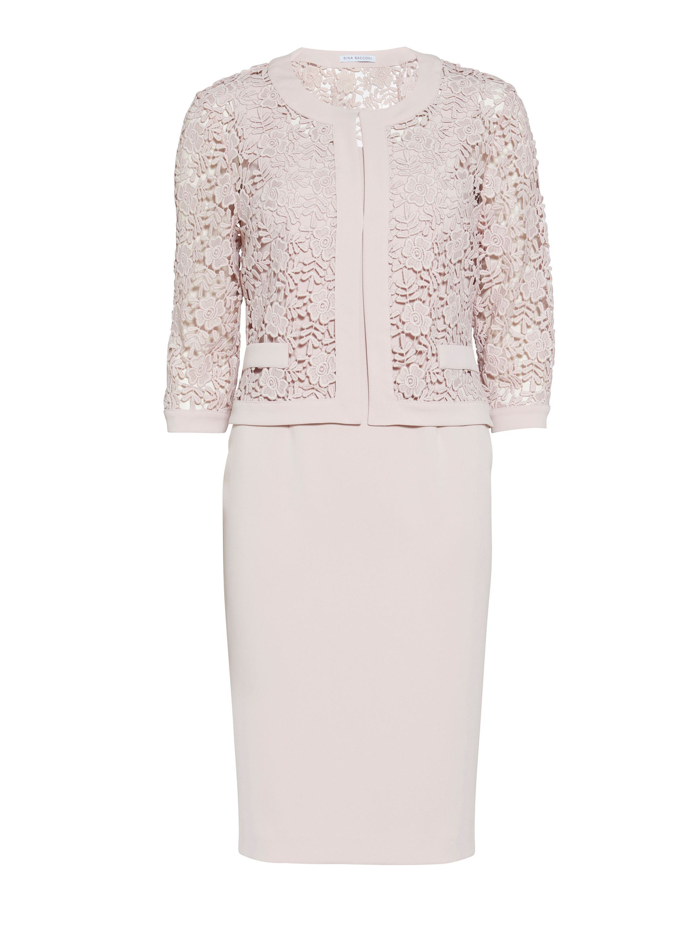 Gina Bacconi Crepe dress and guipure jacket, Pastel Pink