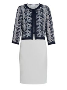 Gina Bacconi Crepe and sequin mesh dress and jacket