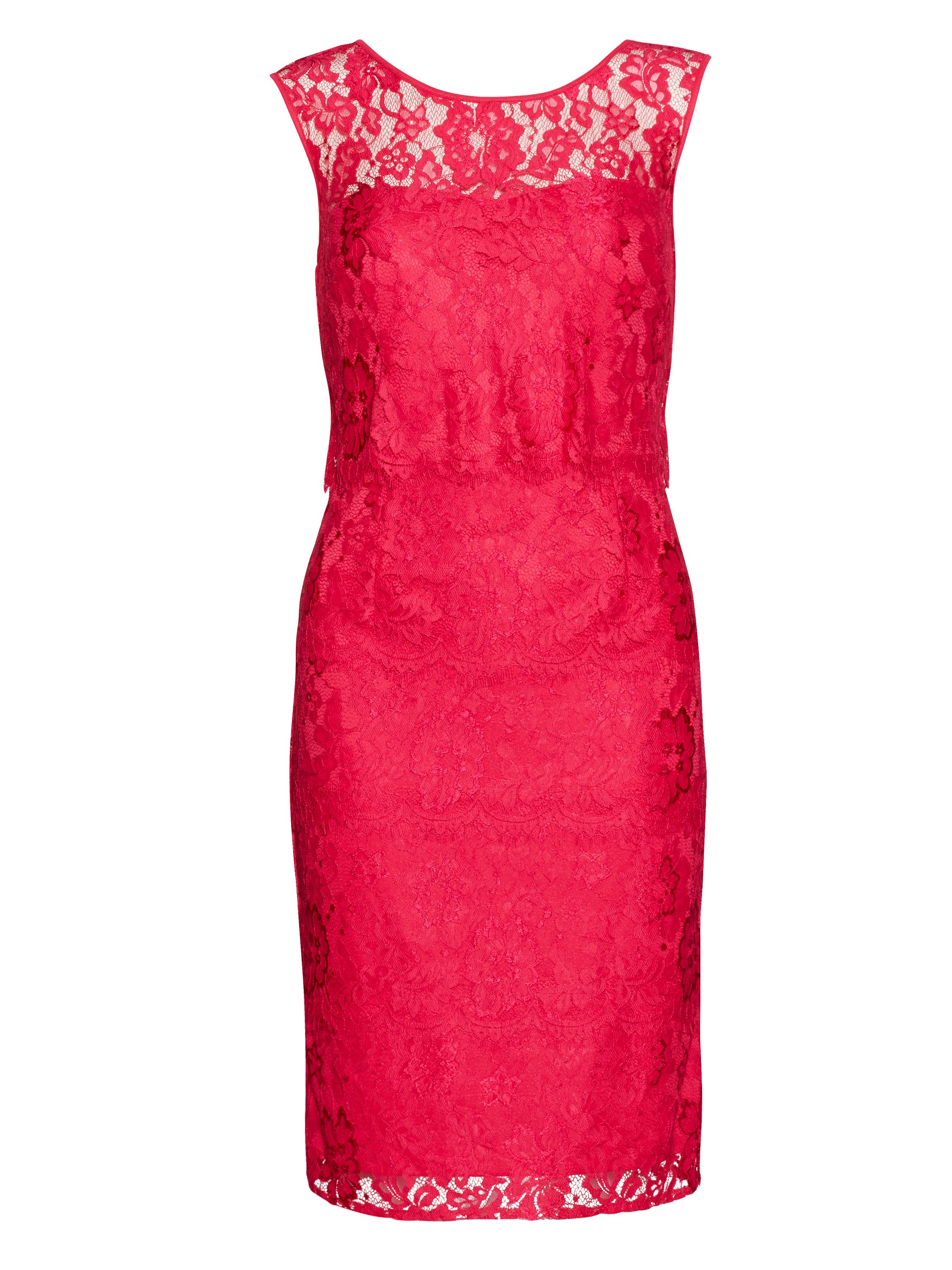 Gina Bacconi Layered scallop flower lace dress, Pink