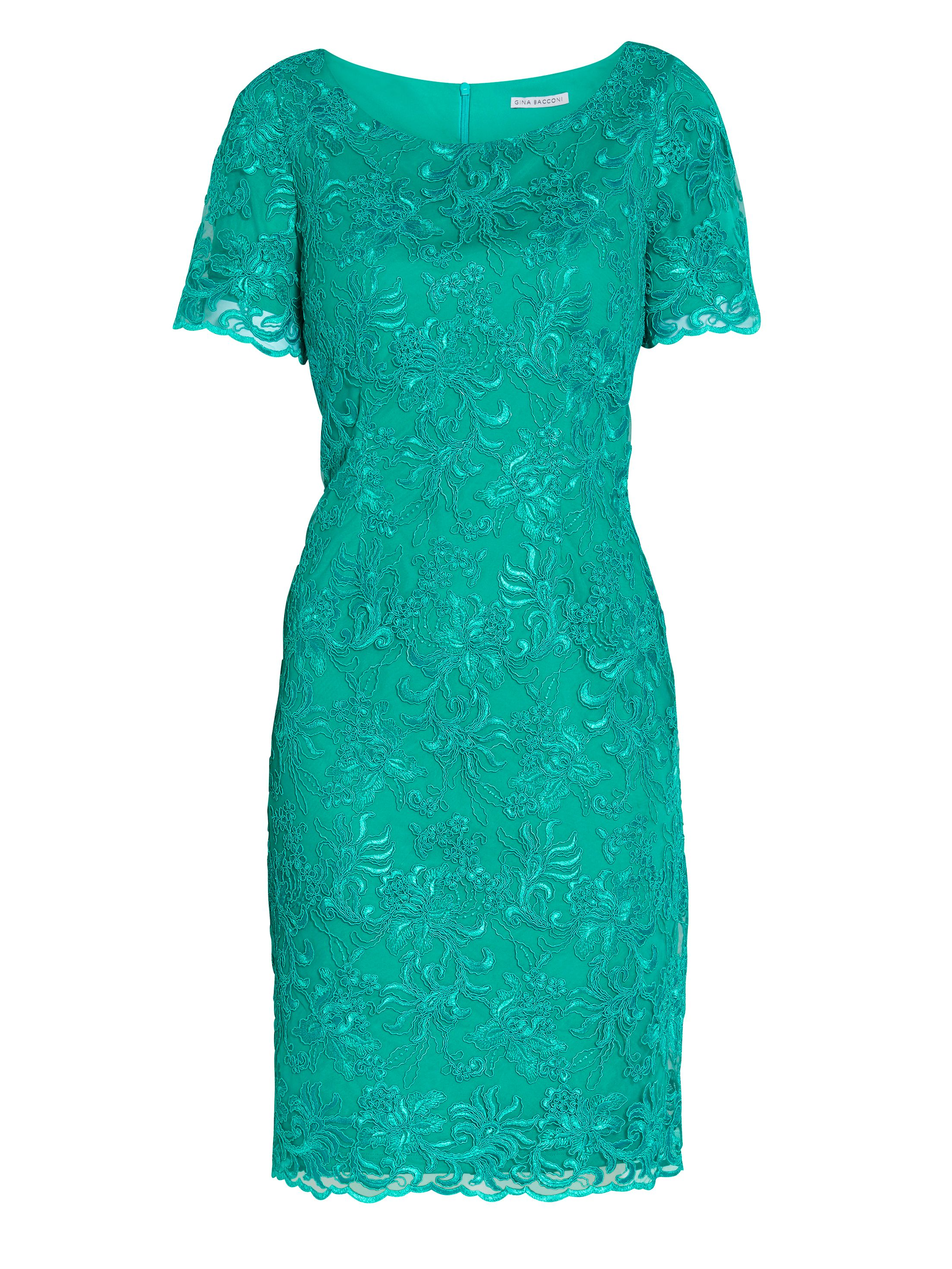 Gina Bacconi Embroidered corded mesh dress, Green