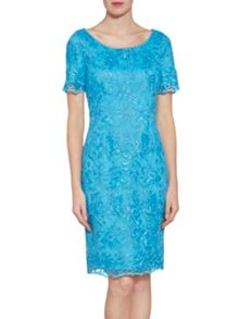 Gina Bacconi Embroidered corded mesh dress