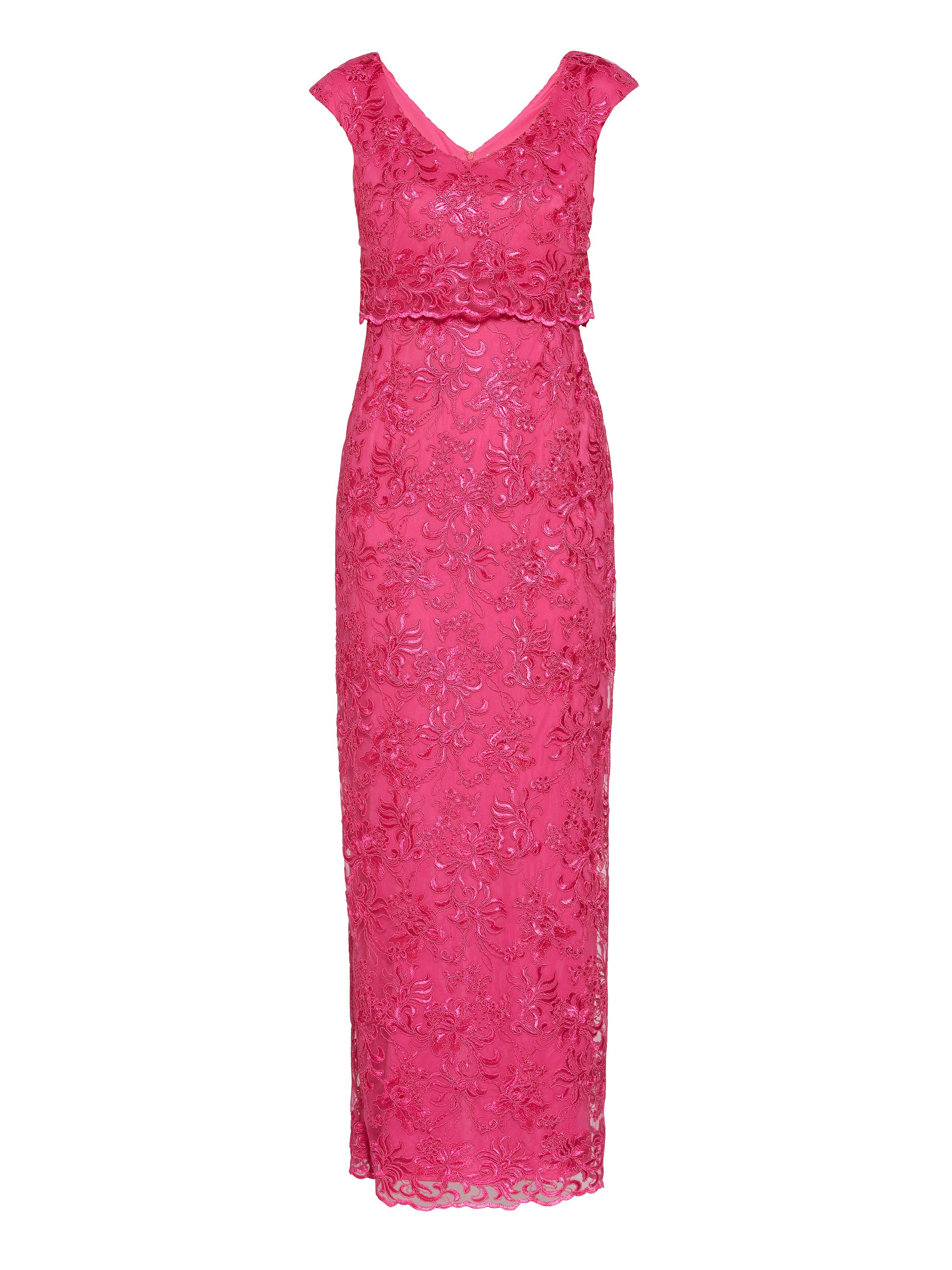 Gina Bacconi Embroidered corded mesh maxi dress, Pink