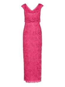 Gina Bacconi Embroidered corded mesh maxi dress