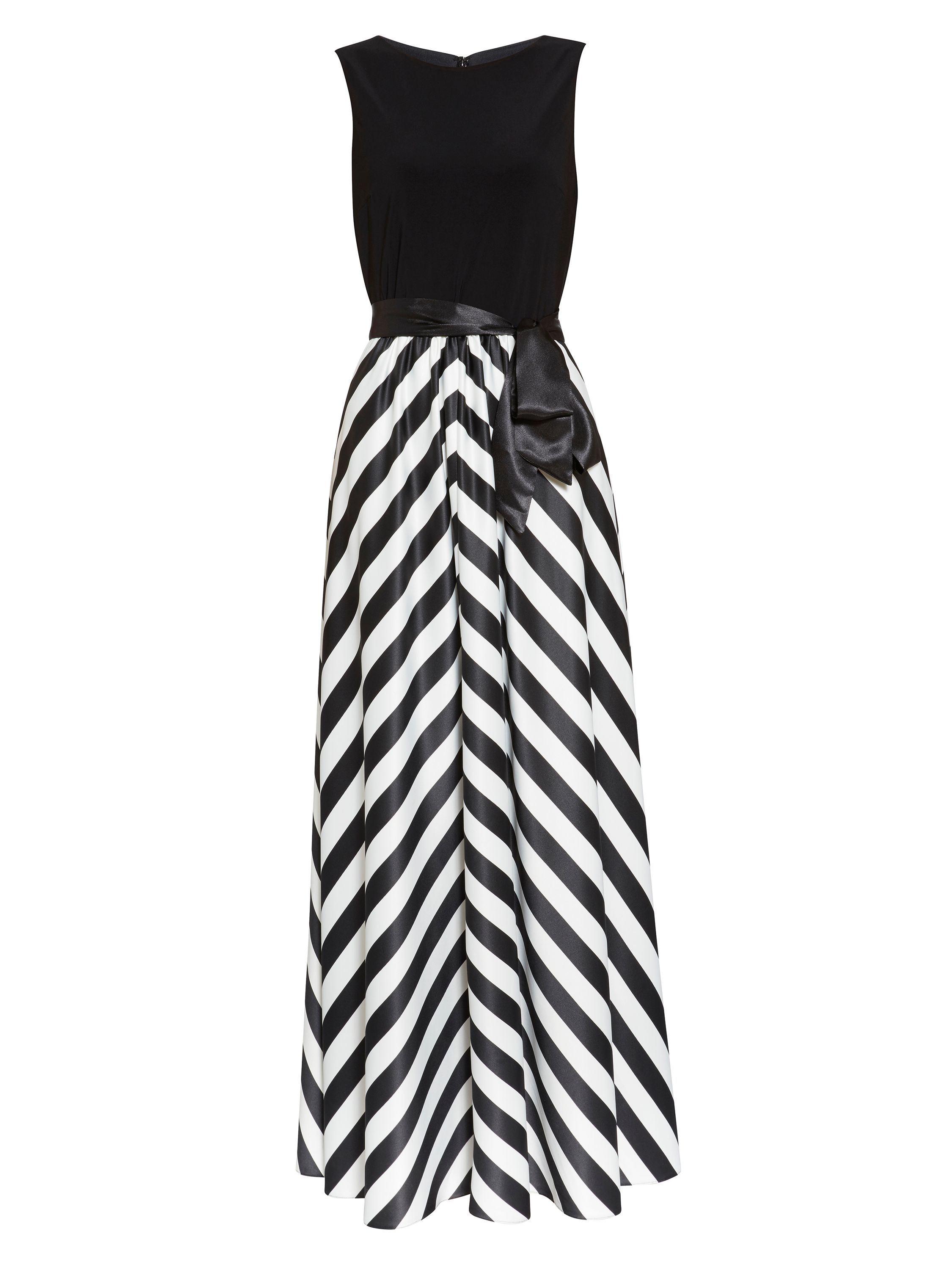 Gina Bacconi Jersey bodice satin stripe maxi dress, Black
