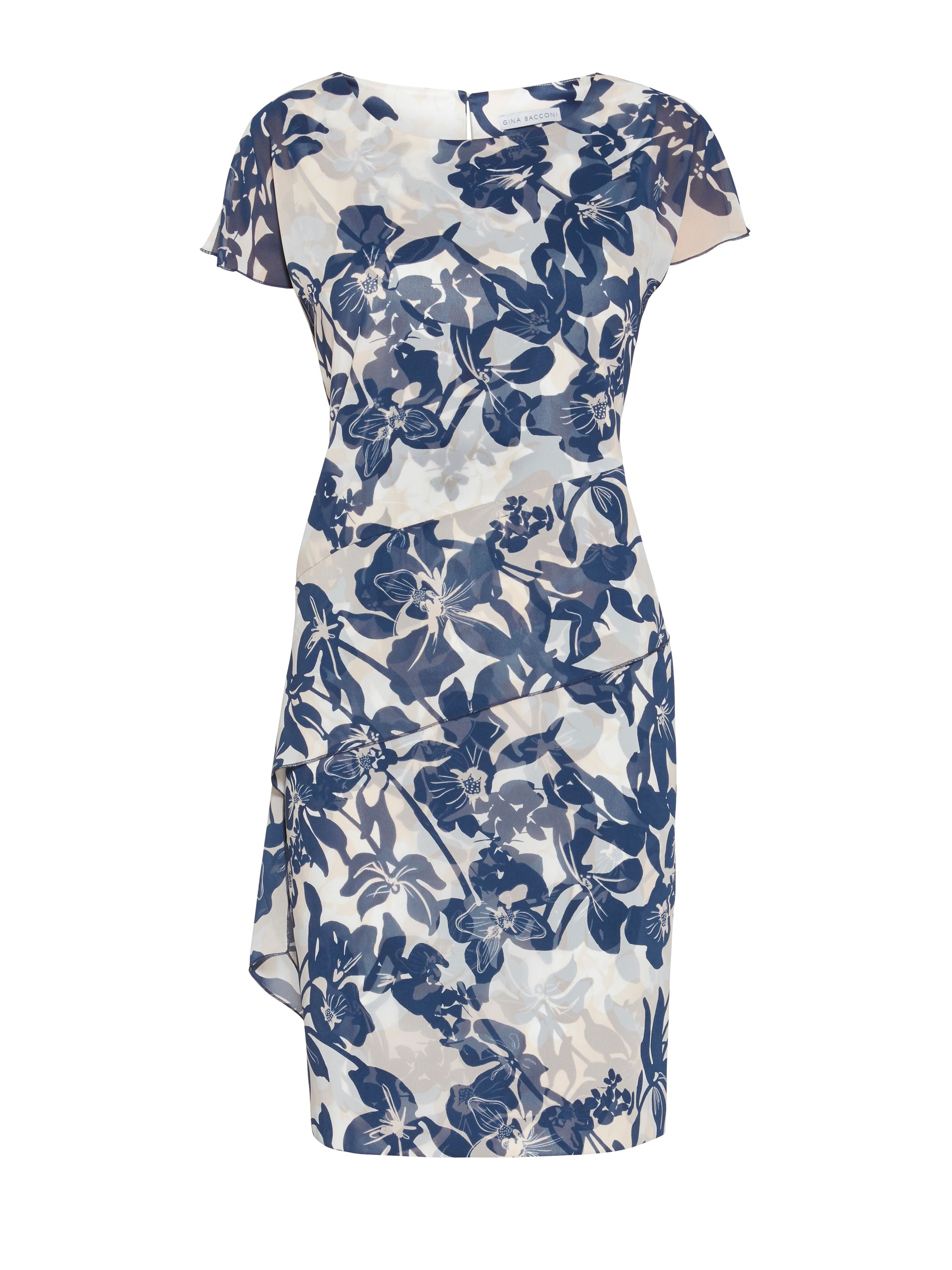 Gina Bacconi Print satin dress with chiffon band, Blue