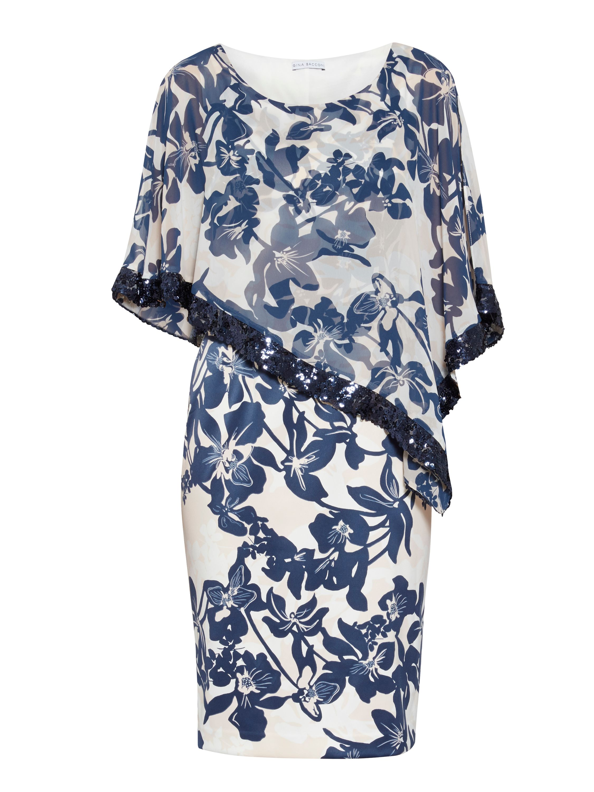Gina Bacconi Print Satin Dress And Chiffon Cape, Blue