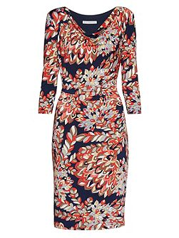 Abstract retro leaf print jersey dress