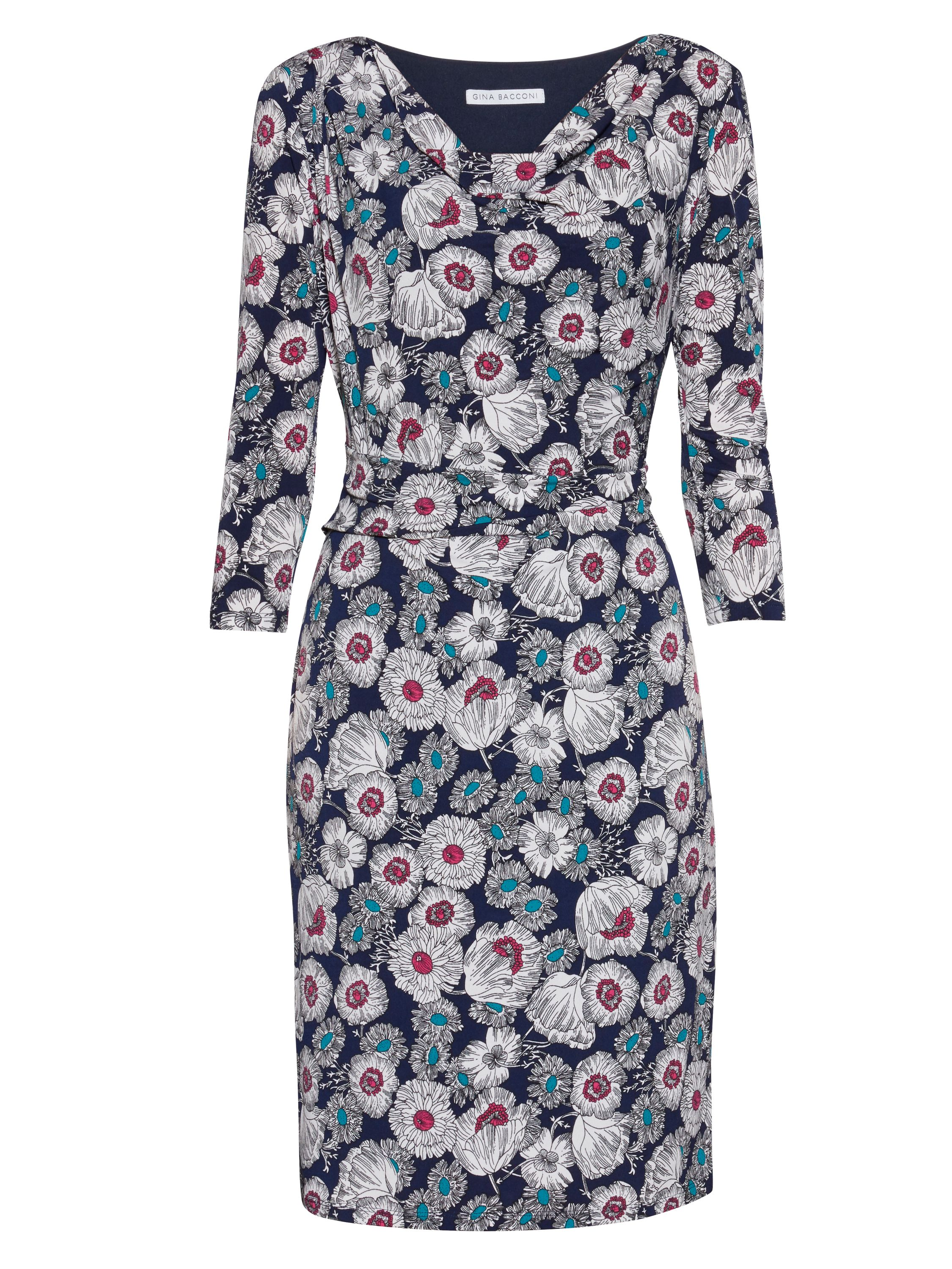 Gina Bacconi Mixed flower print jersey dress Navy