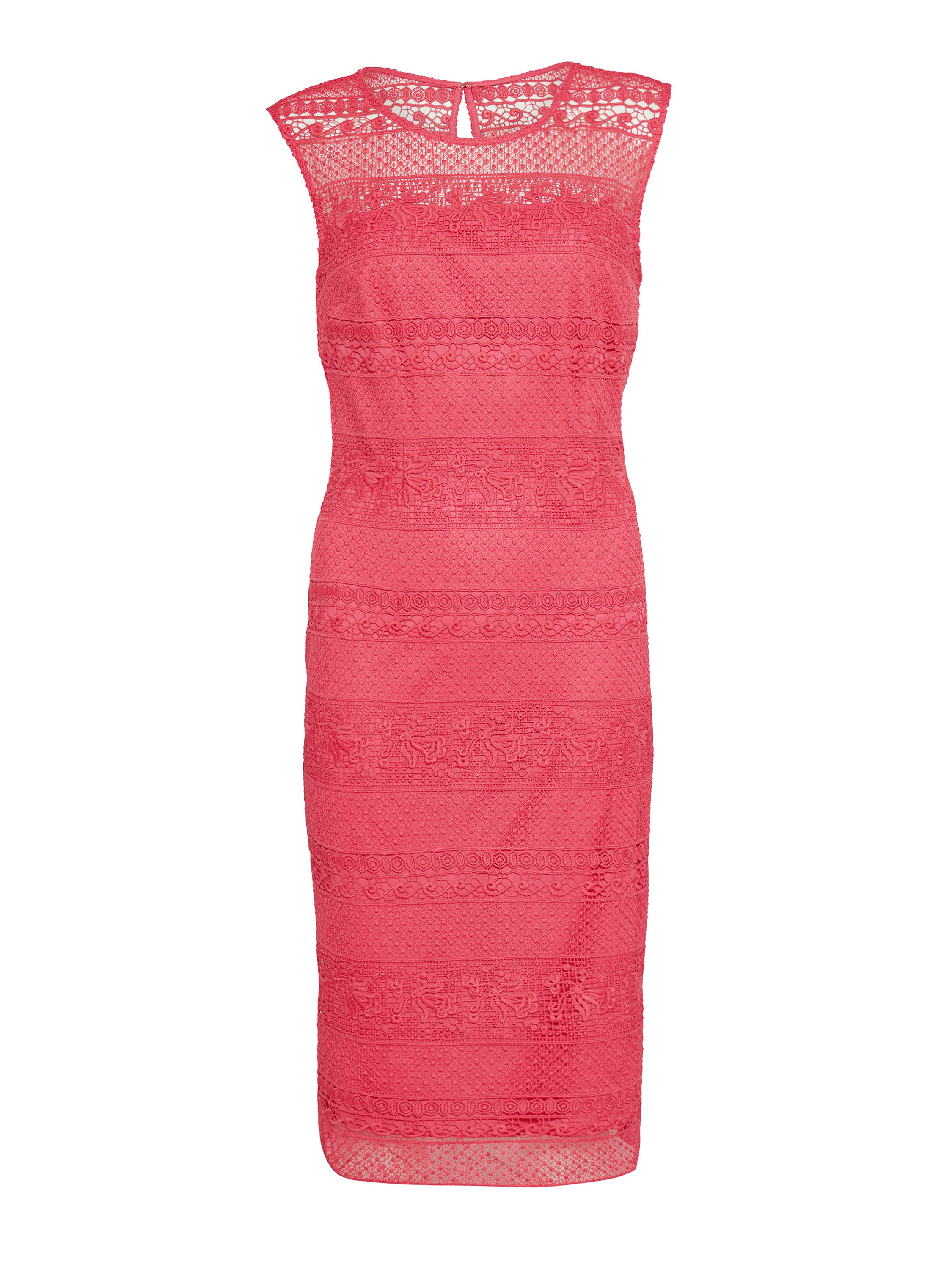 Gina Bacconi Multi Open Panel Embroidery Dress, Red