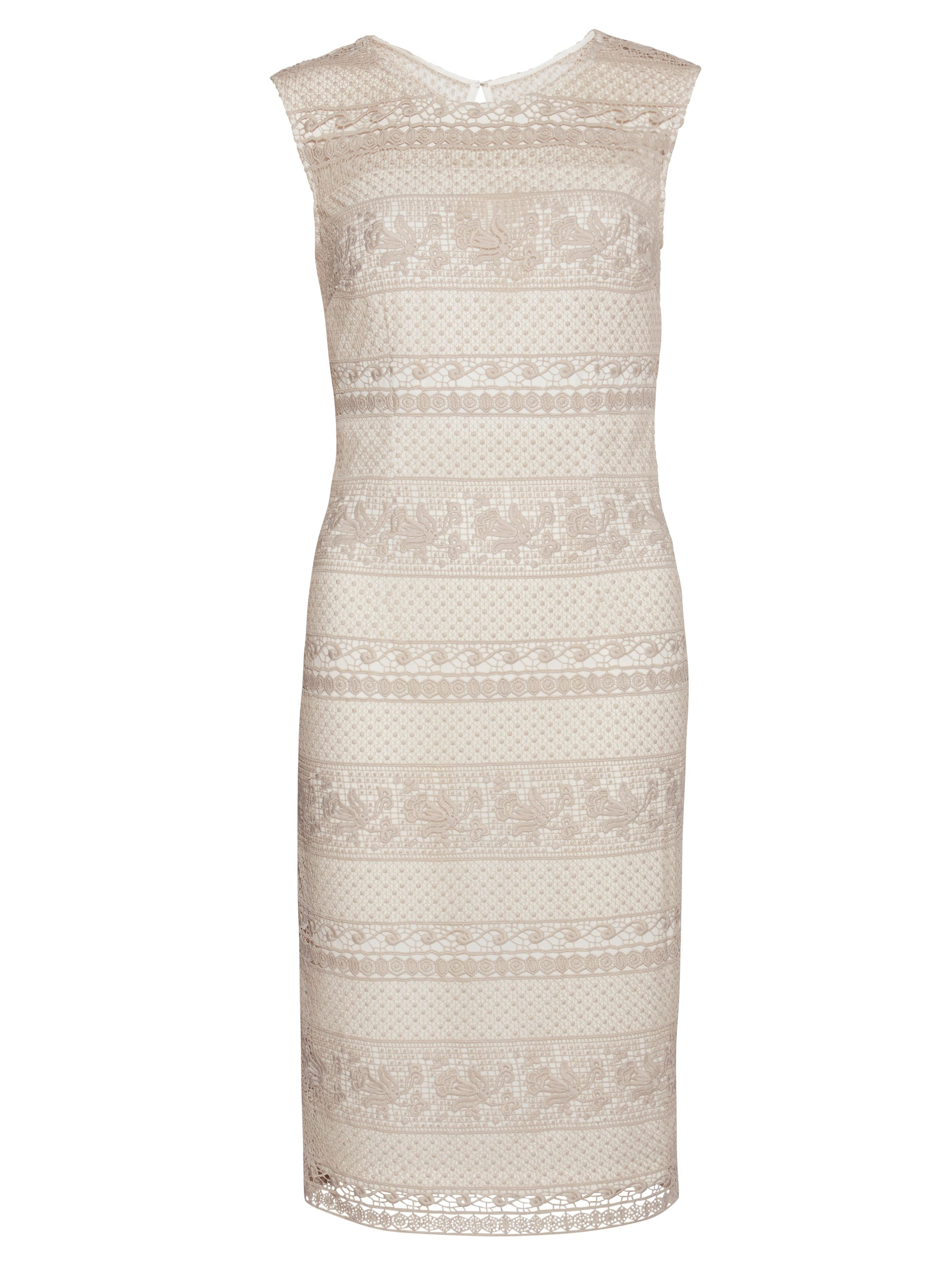 Gina Bacconi Multi Open Panel Embroidery Dress, White