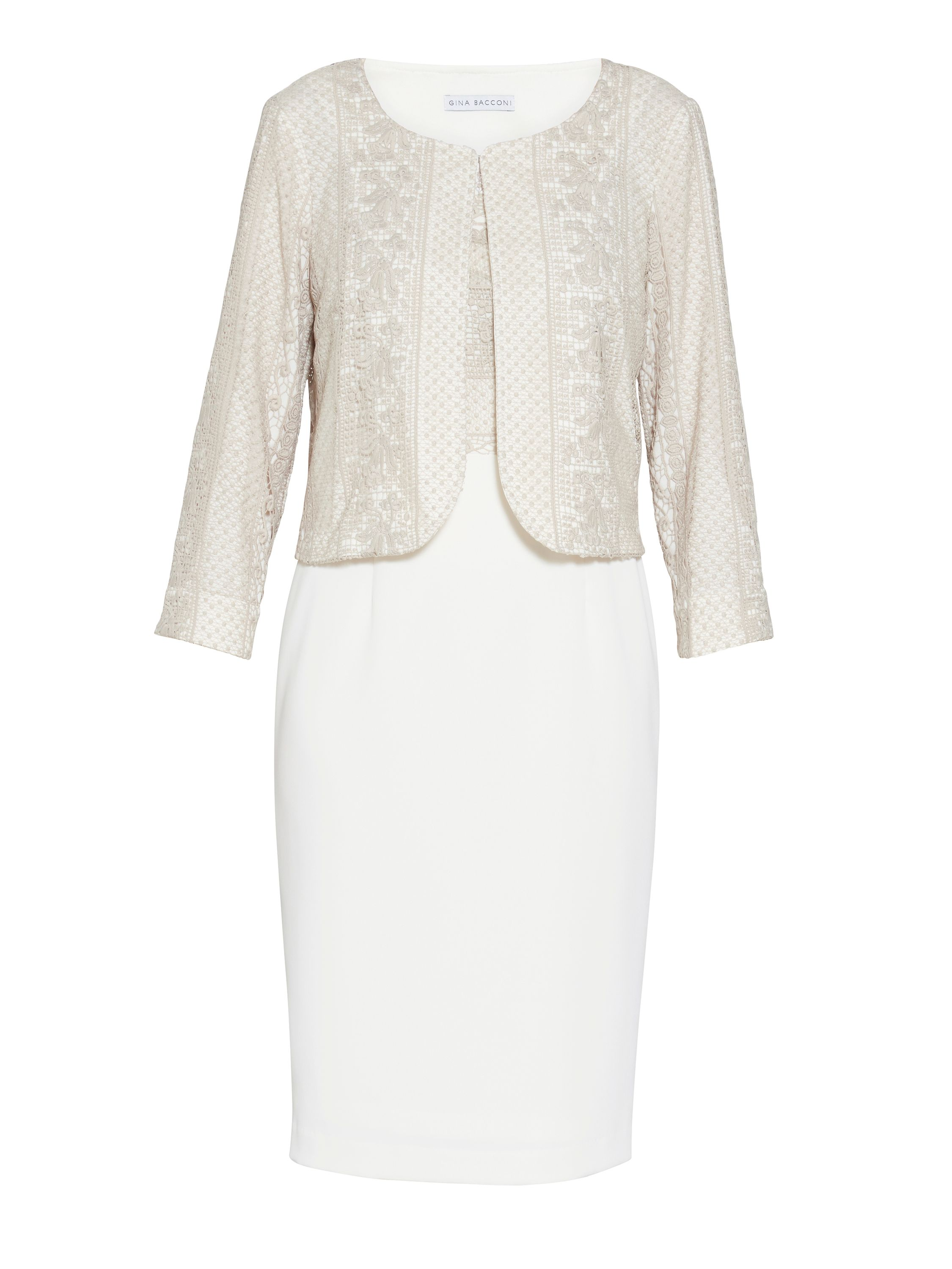 Gina Bacconi Crepe and embroidery dress and jacket, White