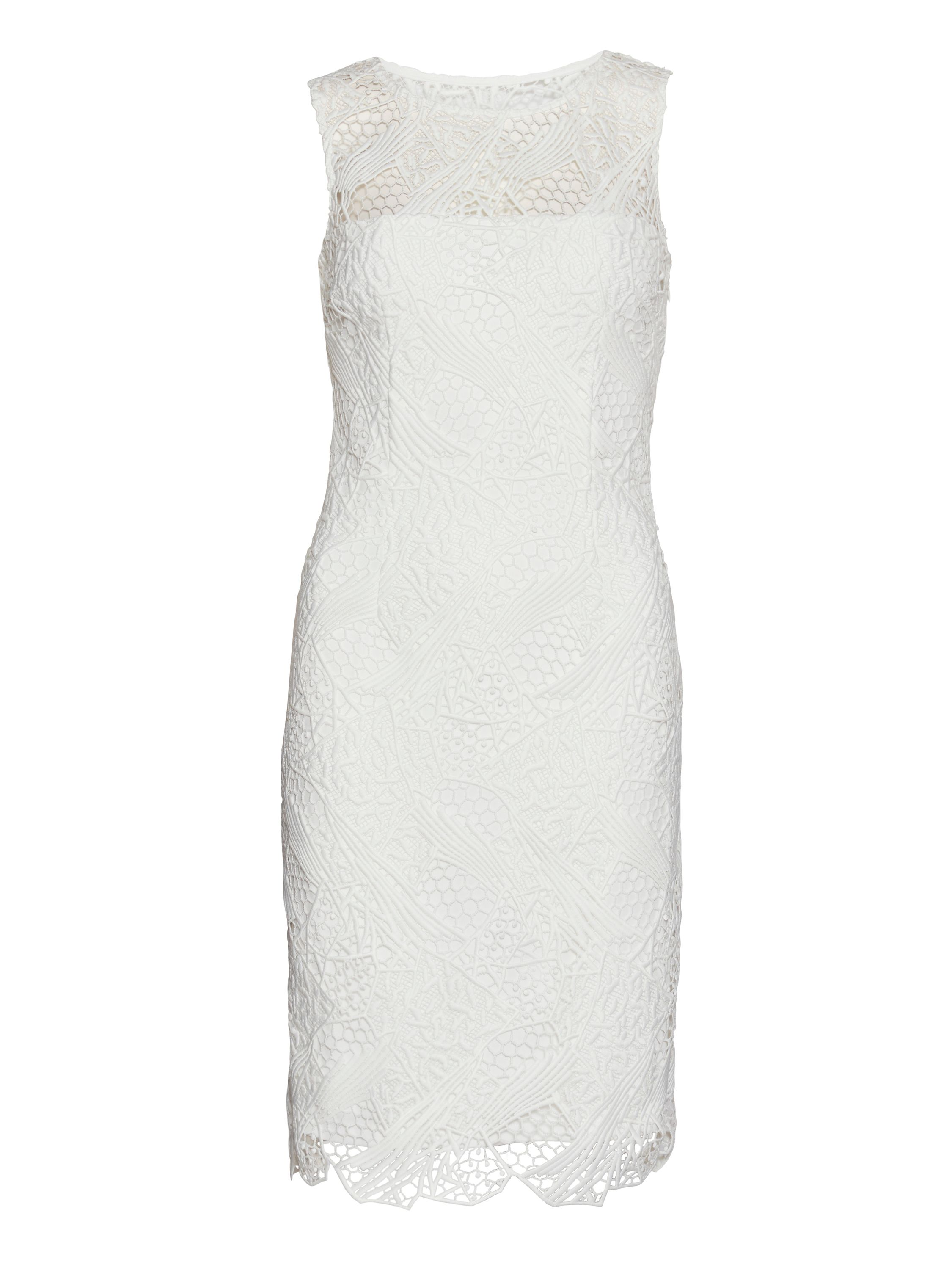 Gina Bacconi Abstract guipure dress, Cream