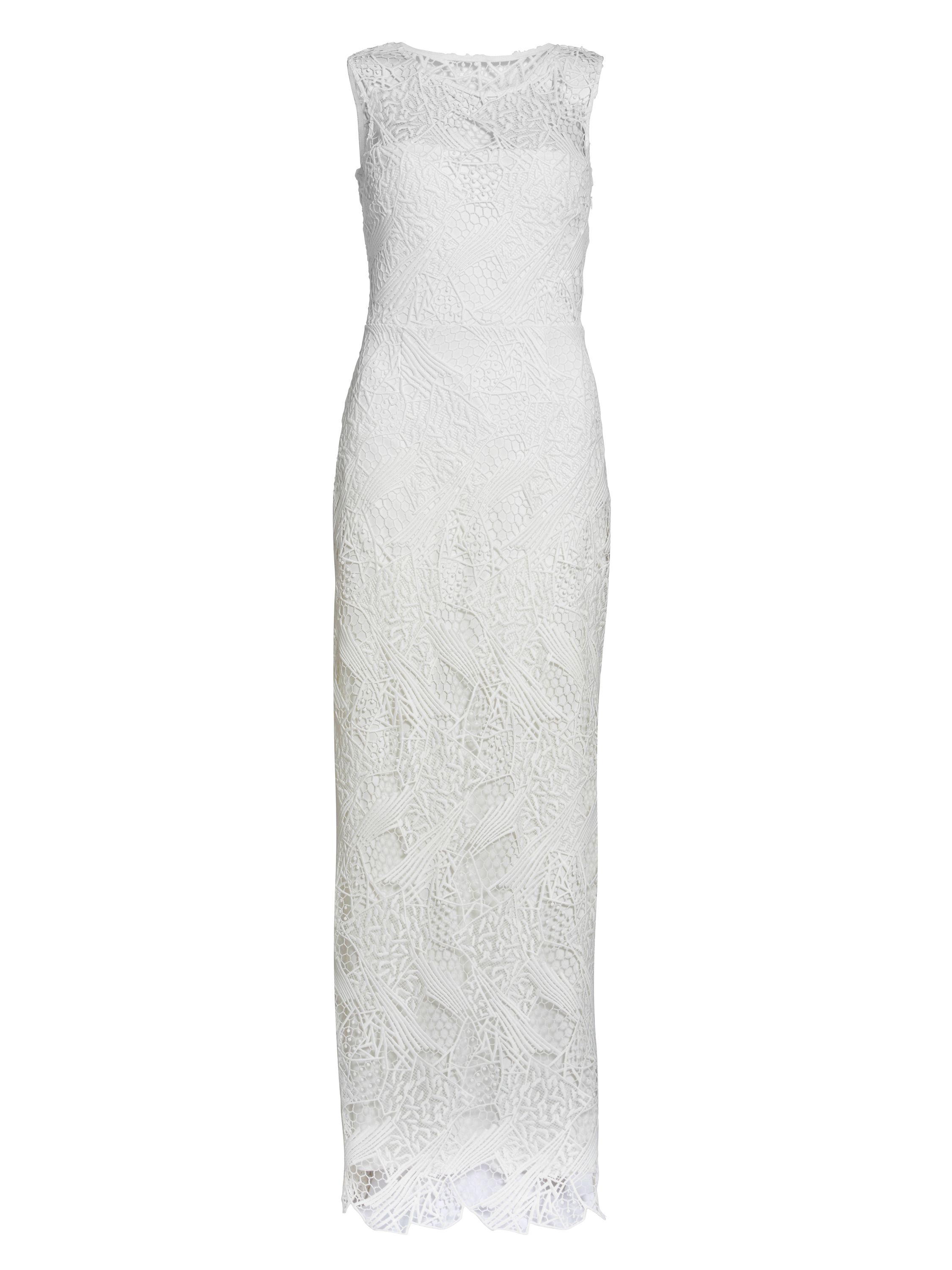 Gina Bacconi Abstract Quipure Maxi Dress, White