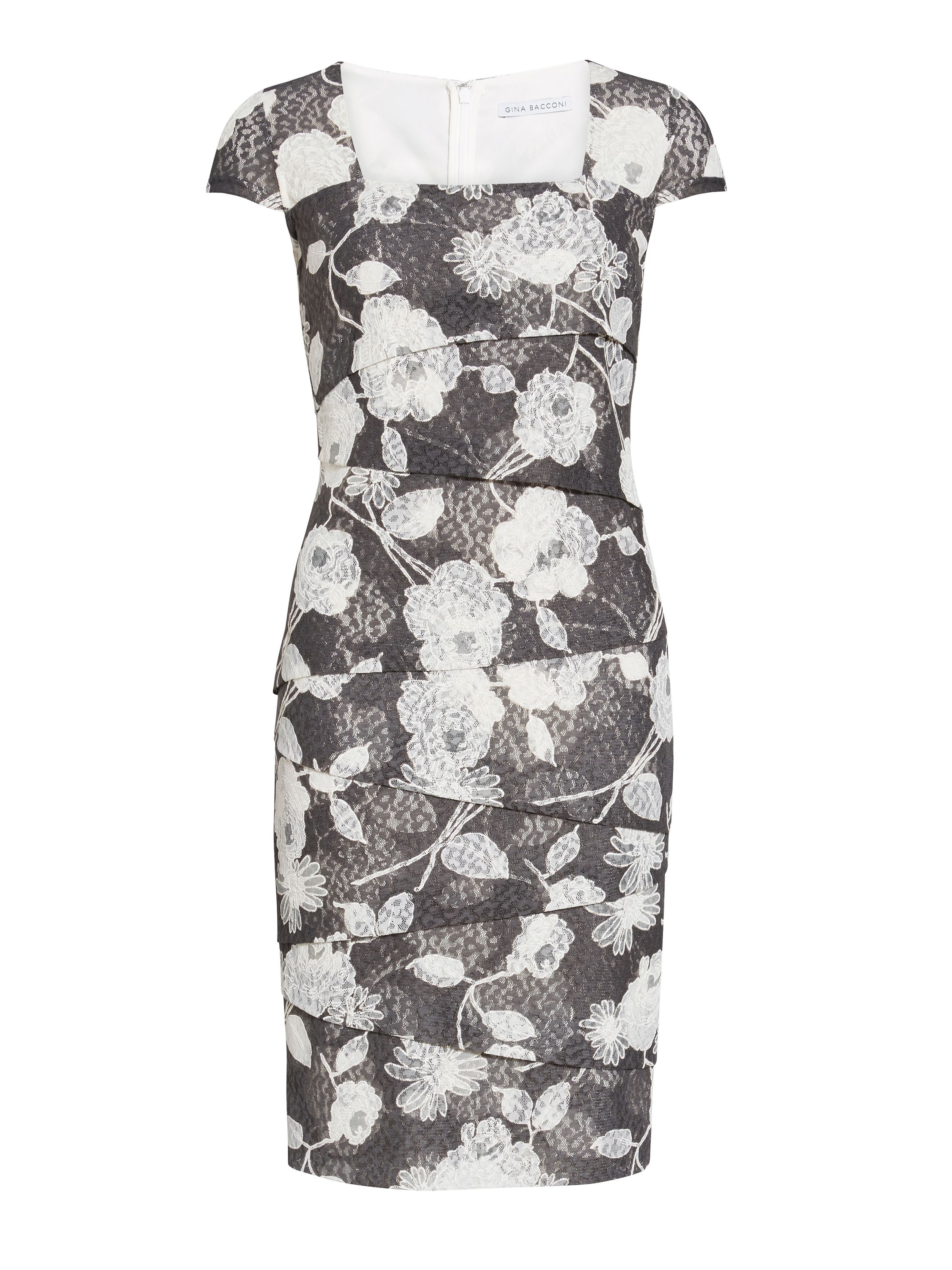 Gina Bacconi 3d floral printed lace layered dress, Grey
