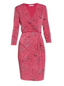 Gina Bacconi Pink floral crepe jersey dress