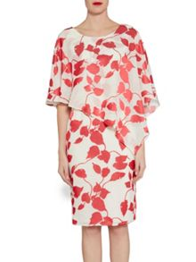 Gina Bacconi Cream red linen  burn out dress and cape