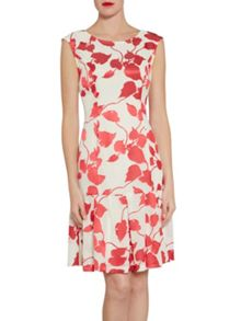 Gina Bacconi Cream red linen effect burn out dress