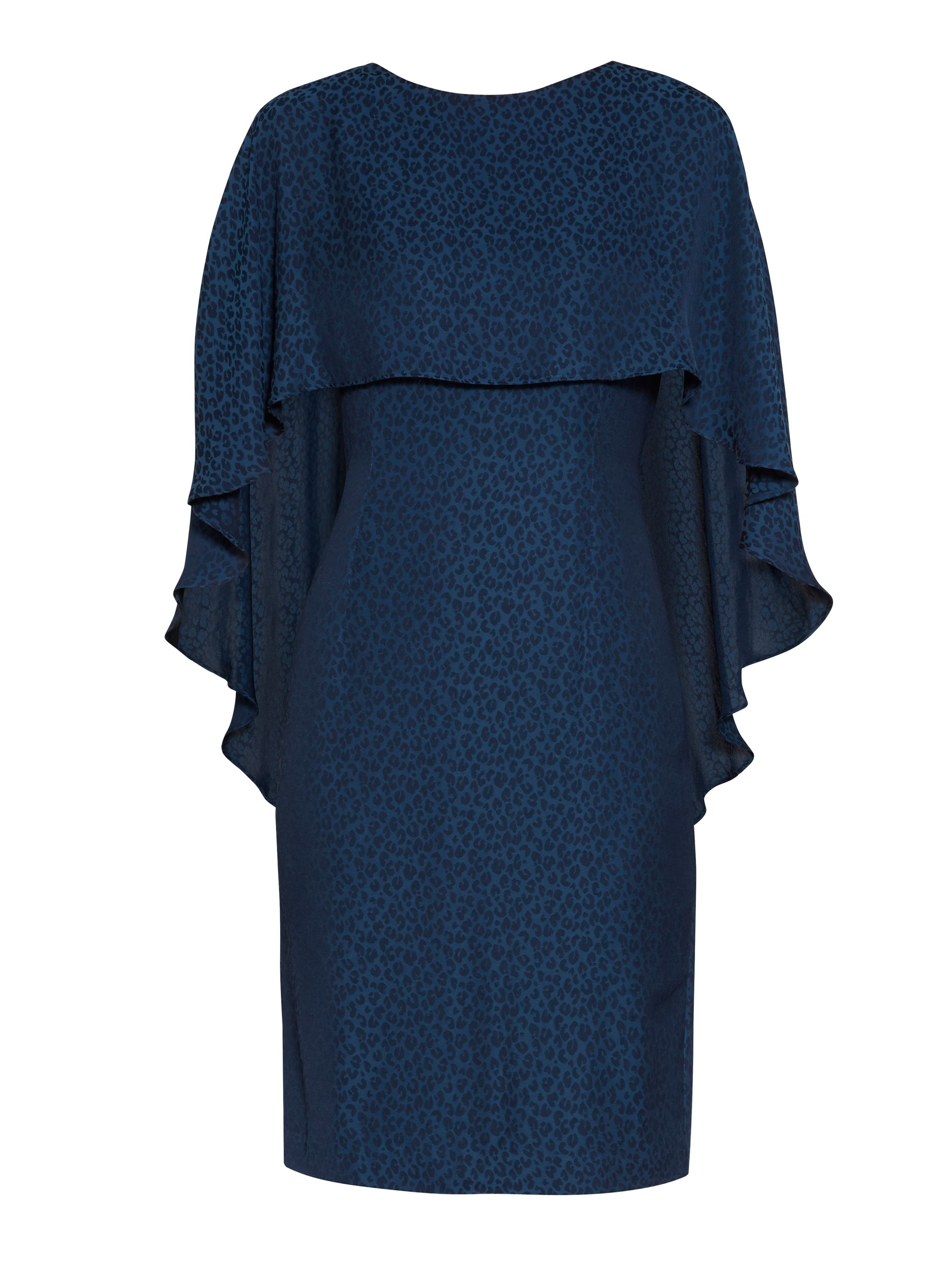 Gina Bacconi Lightweight animal jacquard dress, Blue