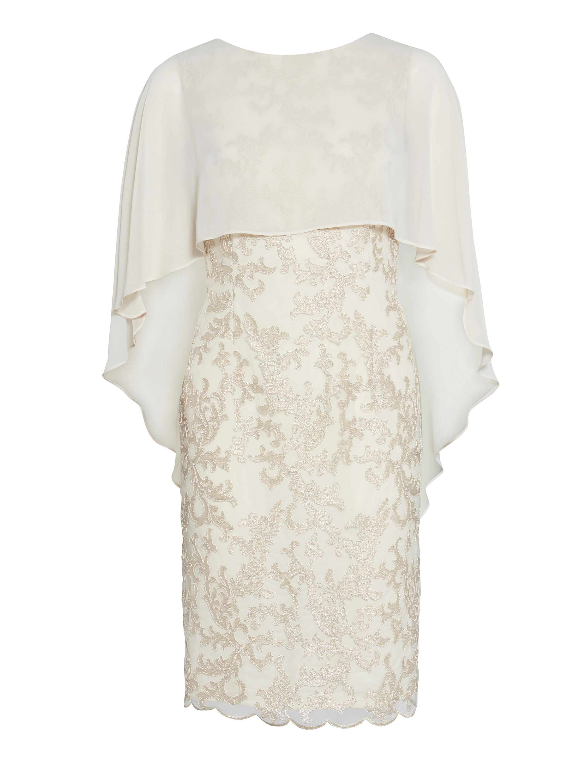 Gina Bacconi Corded mesh dress and chiffon cape, Cream