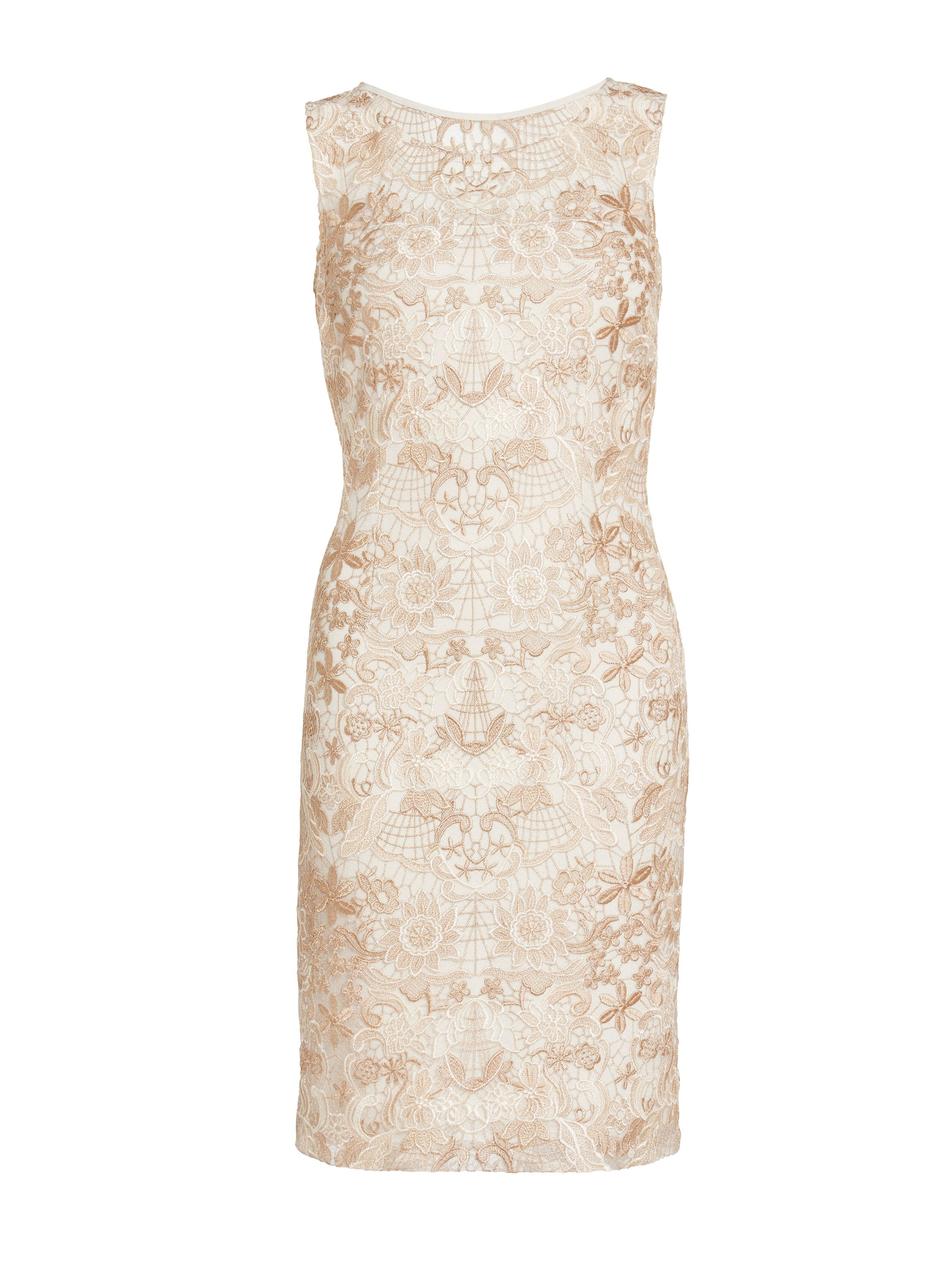 Gina Bacconi Tonal floral embroidered mesh dress, Cream