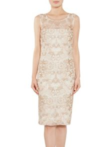 Gina Bacconi Tonal floral embroidered mesh dress
