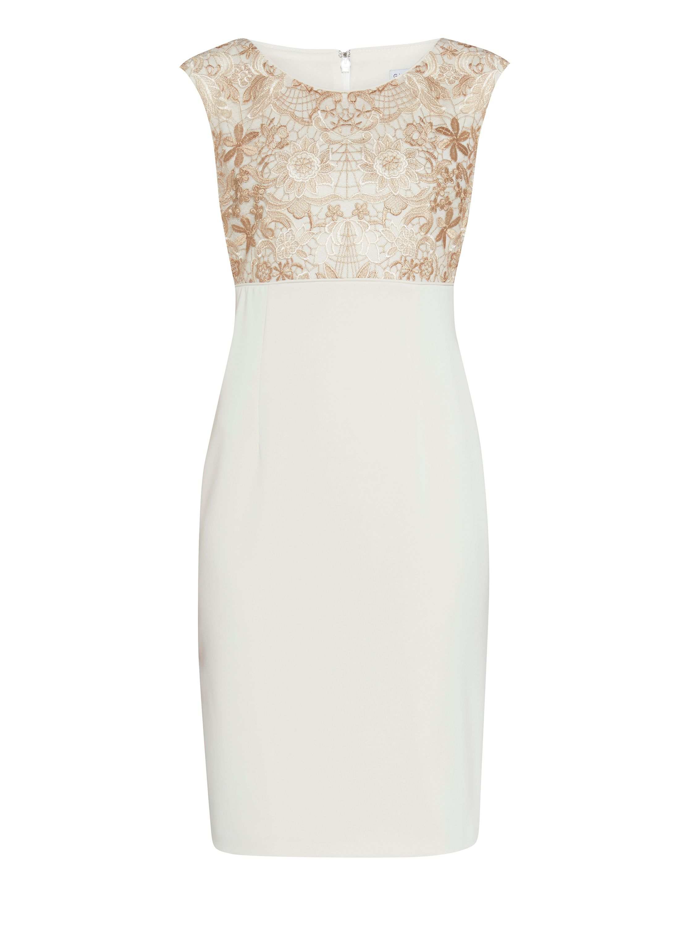 Gina Bacconi Crepe and floral embroidered mesh dress, Cream
