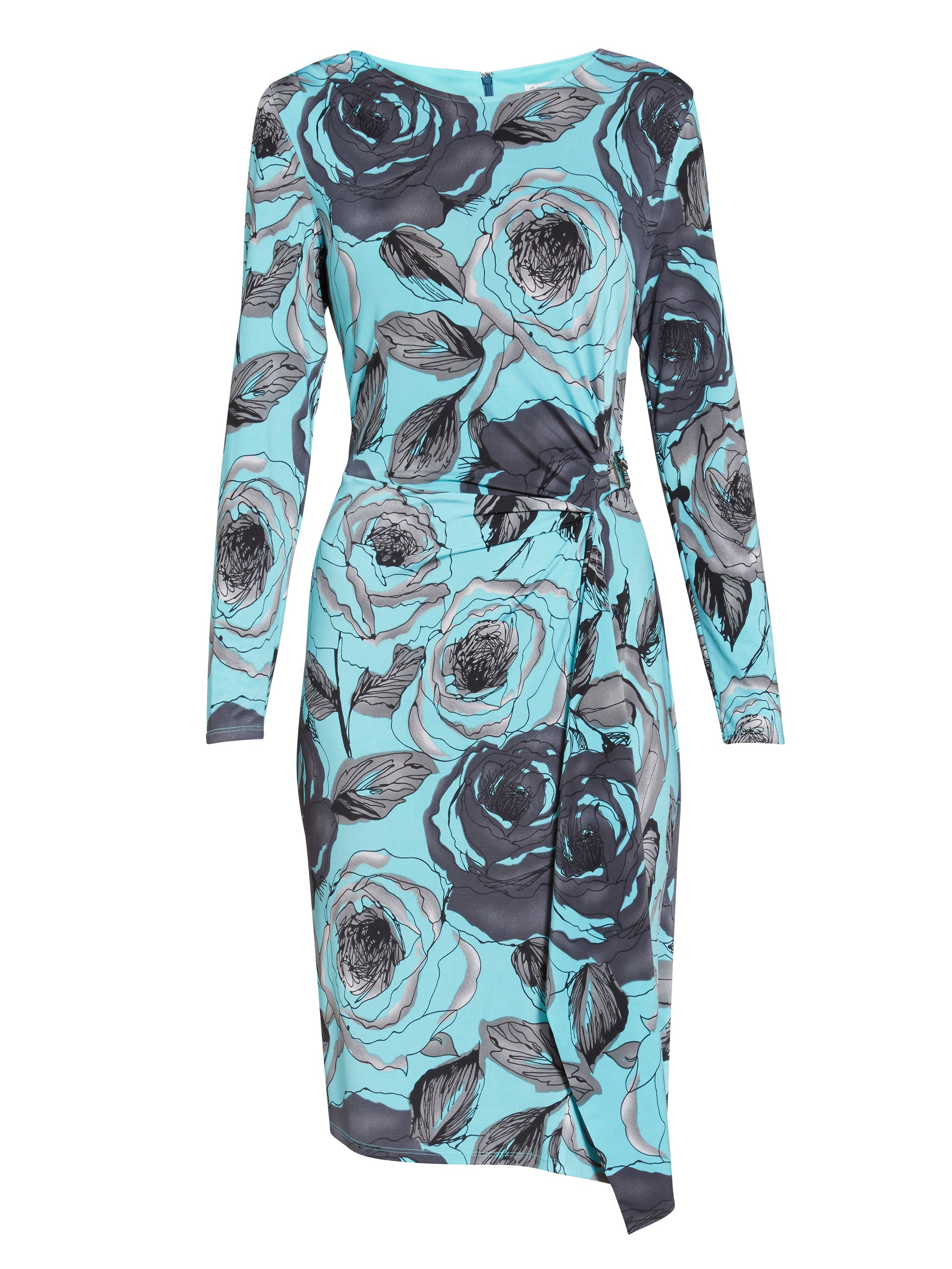 Gina Bacconi Turq Grey Floral Print Jersey Dress, Multi-Coloured