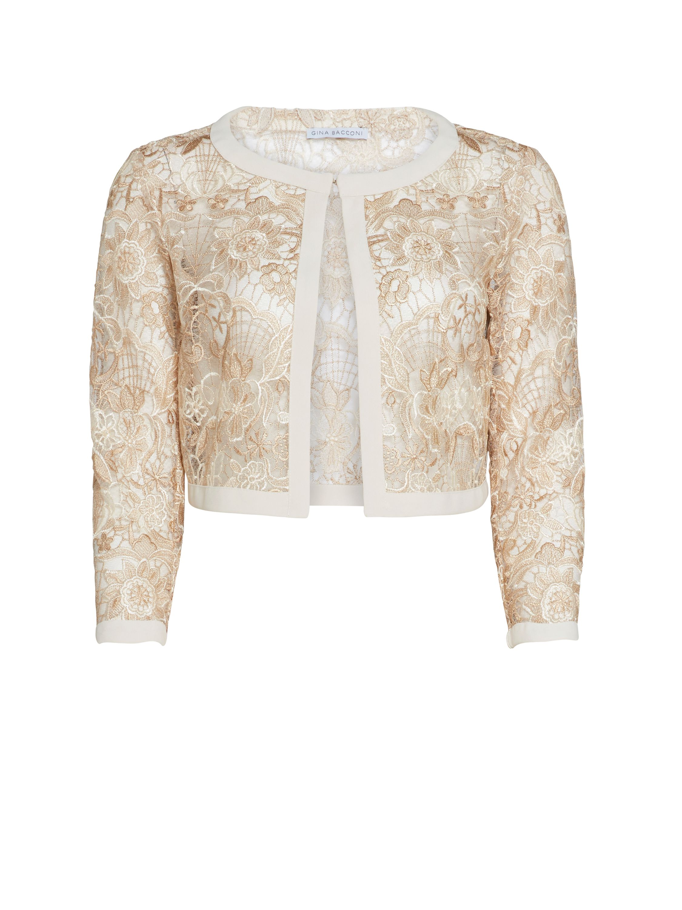 Gina Bacconi Crepe And Floral Embroidered Mesh Jacket, Cream