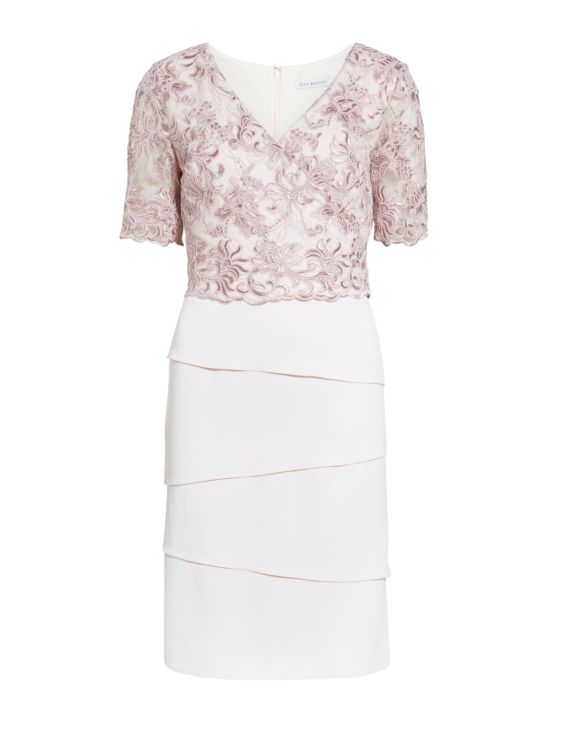 Gina Bacconi Crepe dress with cord embroidery bodice, Pink