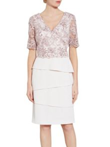 Gina Bacconi Crepe dress with cord embroidery bodice