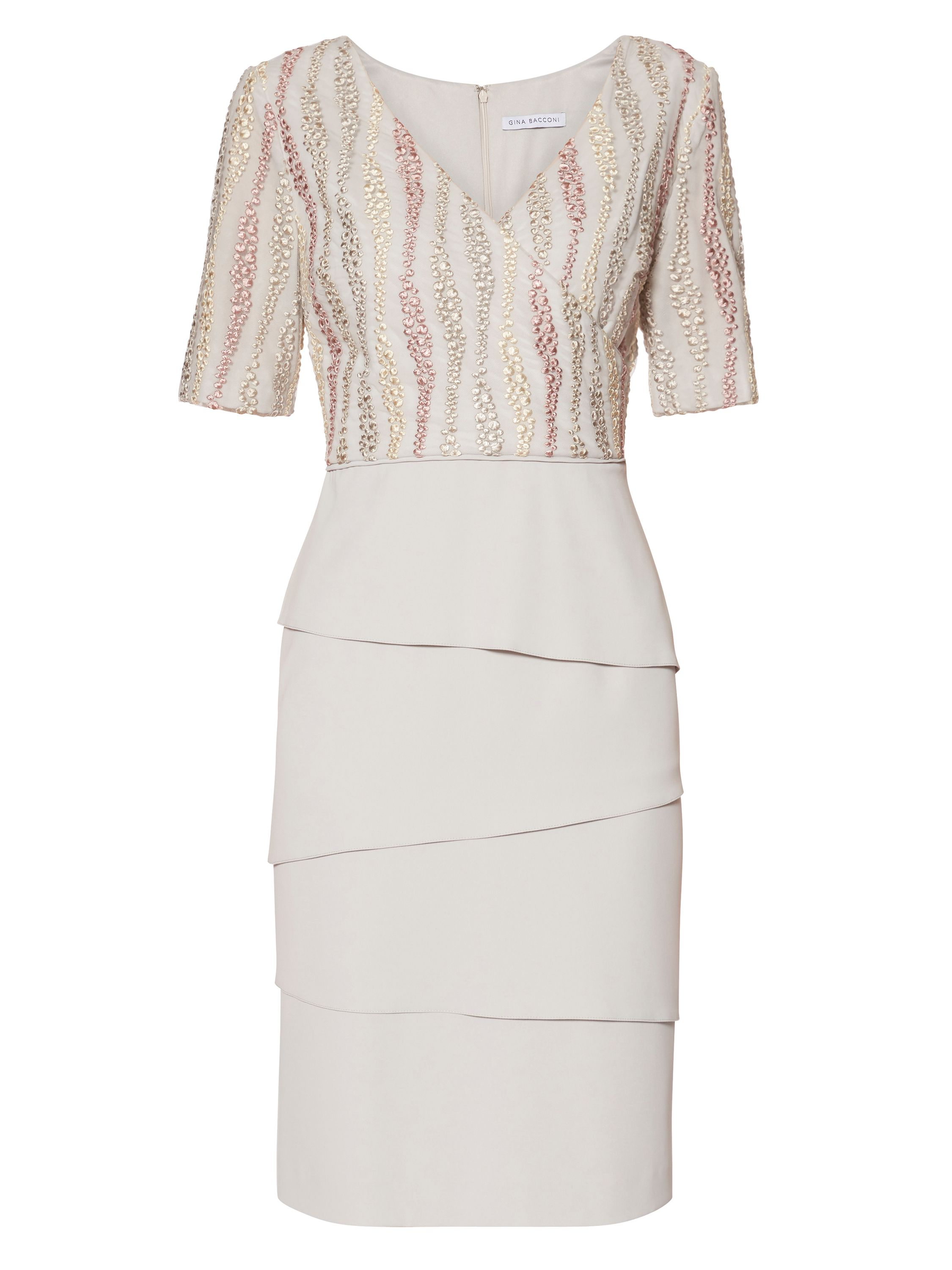 Gina Bacconi Crepe dress with embroidered mesh bodice, Silver