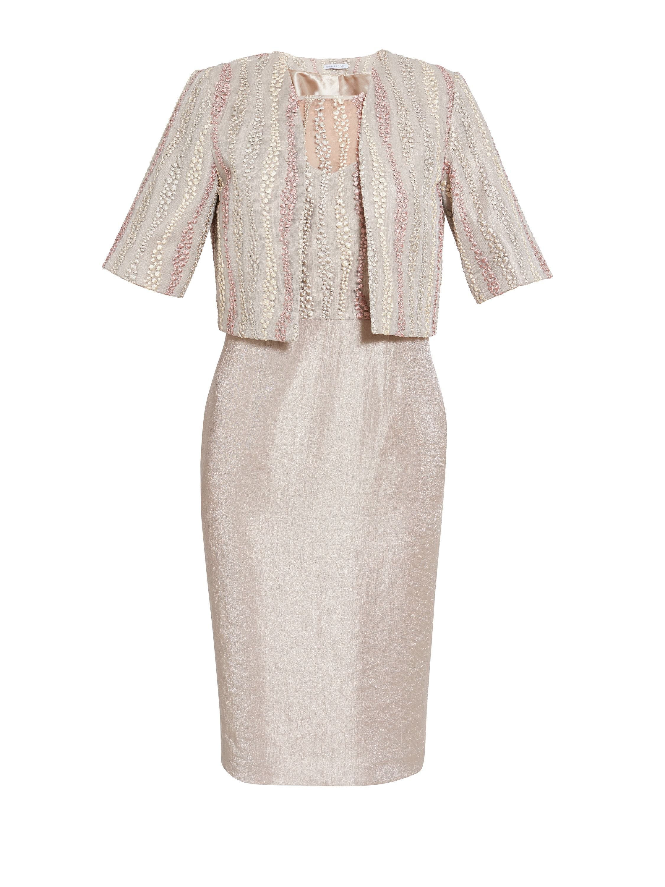 Gina Bacconi Embroidered mesh dress and jacket, Cream