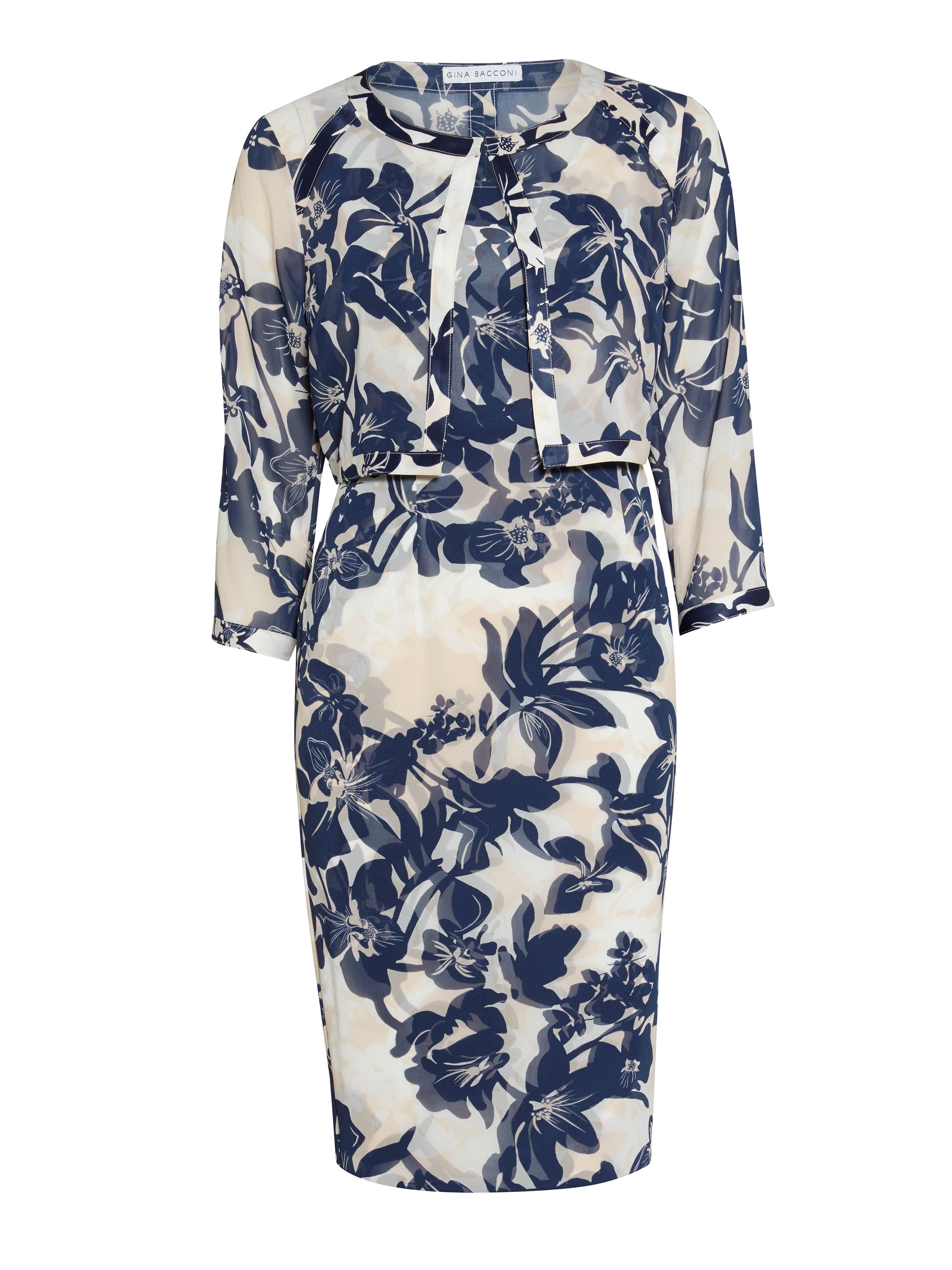 Gina Bacconi Print chiffon and satin dress and jacket, Multi-Coloured